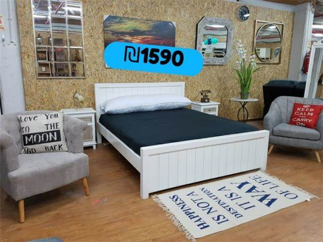 מיטה זוגית מעוצבת מעץ - אלוף המזרונים