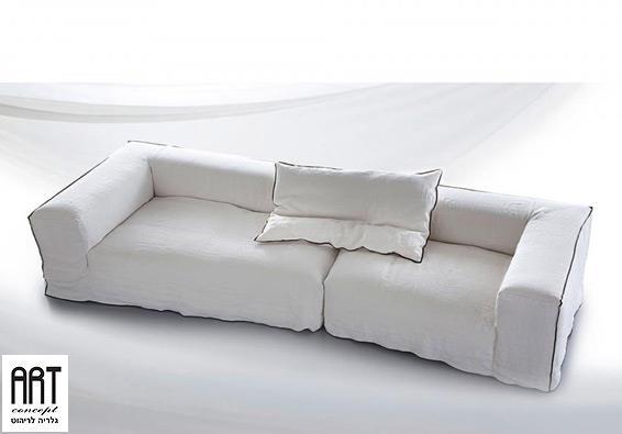 ספה לבנה תלת מושבית - ART - גלריה לריהוט