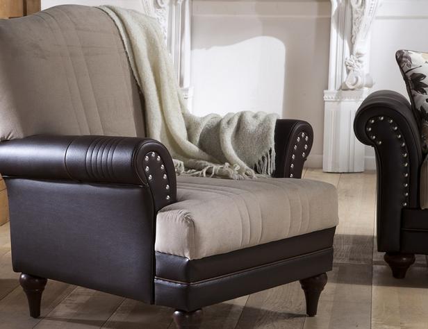 כורסא חום-שמנת - אלבור רהיטים