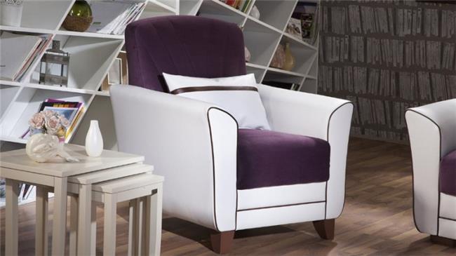 כורסא סגול לבן - אלבור רהיטים