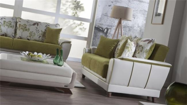 ספה נפתחת ירוק לבן - אלבור רהיטים