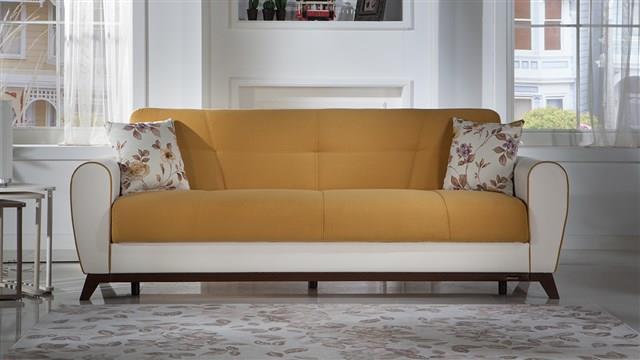 ספה תלת מושבית צהובה - אלבור רהיטים