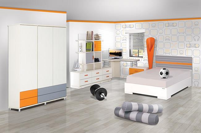 חדר ילדים כתום אפור - אלבור רהיטים