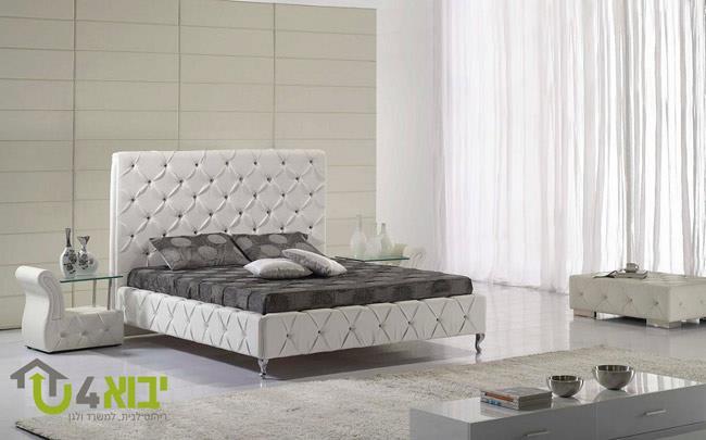 מיטת קפיטונז' לבנה - יבוא 4 יו