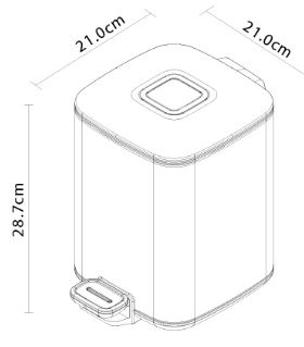 פח אשפה מרובע לשירותים שחור מט 6 ליטר - א.ישראלי