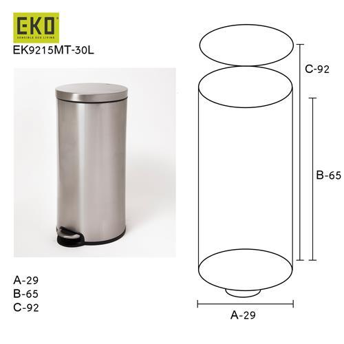 פח אשפה קלאסי למטבח אקו 30 ליטר - א.ישראלי