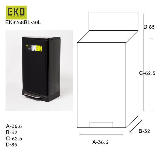 פח אשפה מרובע שחור מט למטבח אקו 30 ליטר - א.ישראלי