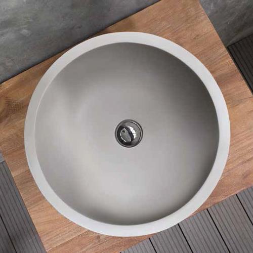 כיור בטון מעוצב דגם סטון עגול אפור בהיר - א.ישראלי