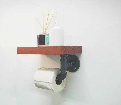 מחזיק נייר טואלט עם מדף עץ טבעי - א.ישראלי
