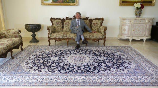 שטיח כחול ולבן - שטיחי אלי ששון