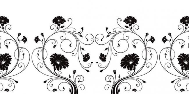 זכוכיות מודפסות פרחים שחור לבן - א.ר. שיווק