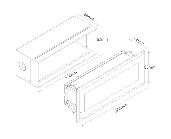 שקוע קיר דגם בלוק 2 - טכנולייט