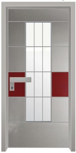 דלת כניסה הייטק אפור אדום - דלתות אלון