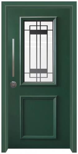 דלת כניסה פנורמי ירוק - דלתות אלון