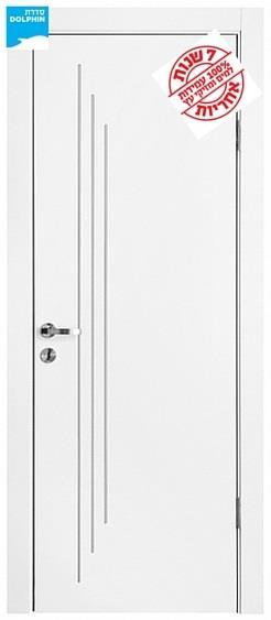 דלת פנים פסי ניקל מדורג לאורך - דלתות אלון