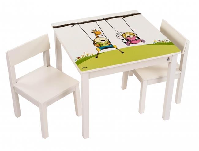 סט שולחן גיאצ'וק שמנת - קוקולה