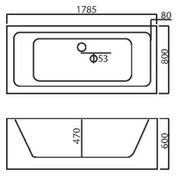 אמבטיה מלבני חד 1765 - טאגור סנטר