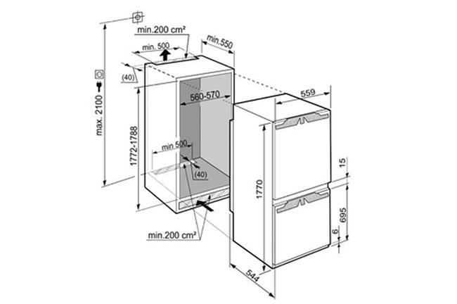 מקרר אינטגרלי מקפיא תחתון LIEBEHRR דגם SICN3356 - חשמל נטו