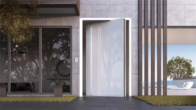 דלת כניסה דגם 1020 זכוכית לבנה - טקני דור