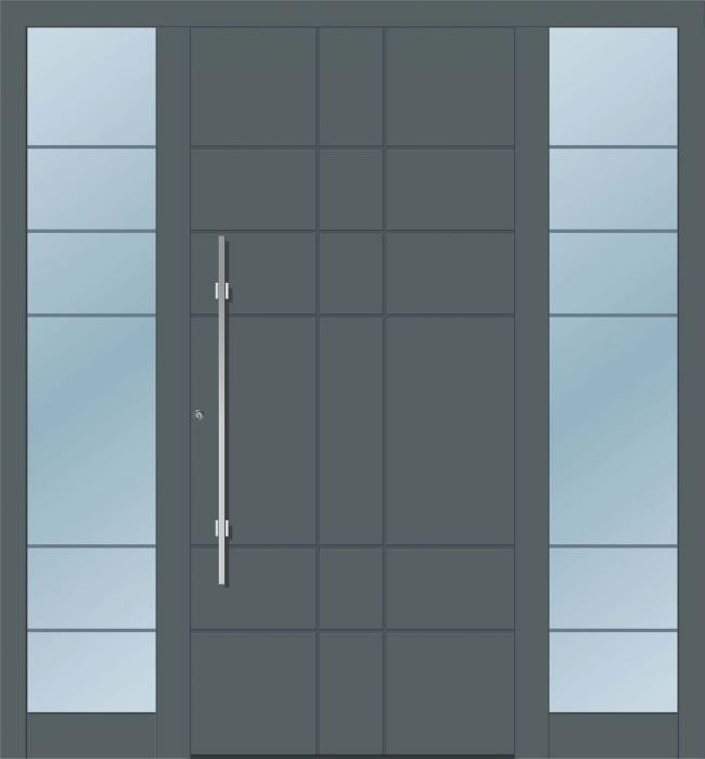 דלת כניסה 1740-2-MISA-RAL-7012 - טקני דור