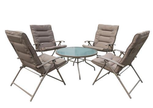 שולחן זכוכית + 4 כורסאות דלהי - GARDENSALE