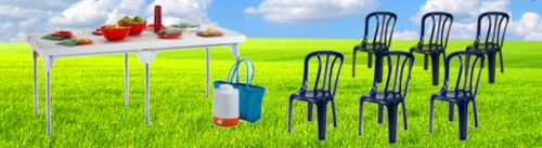 שולחן פלסטיק שיר מתקפל + 6 כיסאות - GARDENSALE