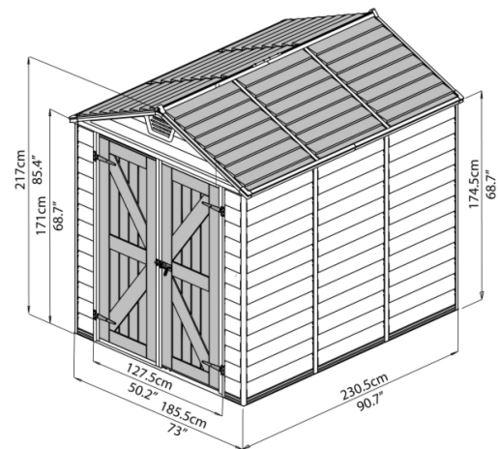 מחסן גינה סקילייט 6*8 פלרם - GARDENSALE