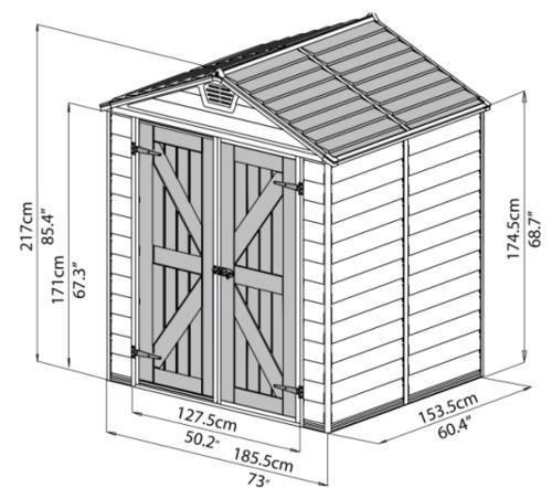 מחסן גינה סקילייט 6*5 פלרם - GARDENSALE