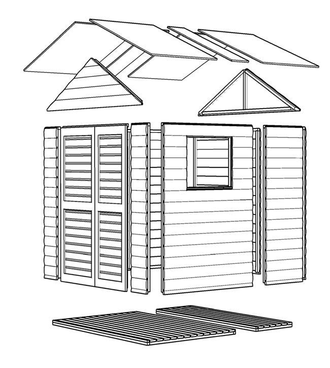 מחסן עץ טופרוסול 66 2.00X1.95 BL-MOD - GARDENSALE