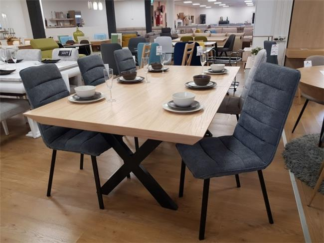 פינת אוכל X מתכת + 6 כיסאות דוריס - רהיטי זילבר