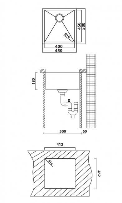 כיור מטבח קווין 45x50x18 - מרכז השרון