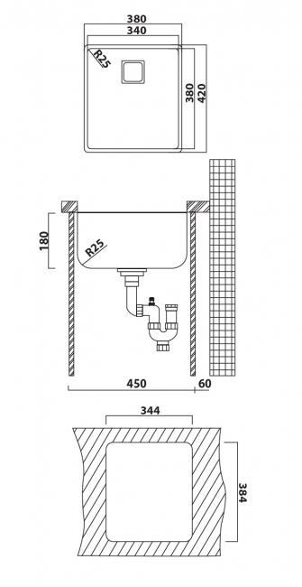 כיור מטבח אנדורה 34 38x42x18 - מרכז השרון