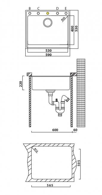 כיור מטבח אנדורה 50 59x53x22 - מרכז השרון