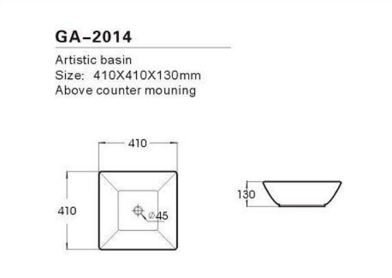 כיור שולחני מרובע פנינה 41X41X13 - מרכז השרון