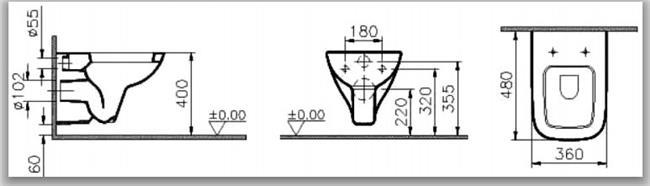 אסלה תלויה S20 קצרה 5505 - מרכז השרון