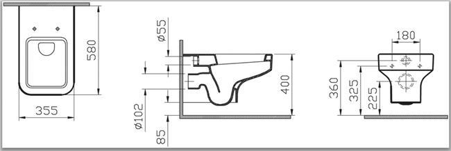אסלה תלויה WJ צבע לבן 4328 - מרכז השרון