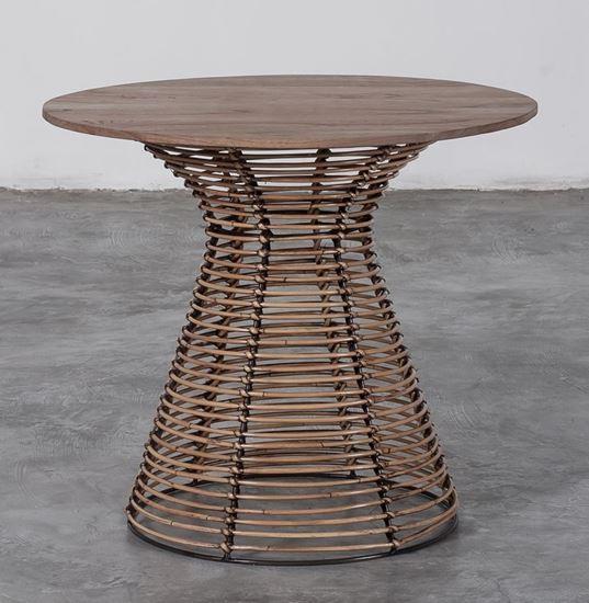 שולחן סלון מעץ מלא וראטן  - העץ הנדיב