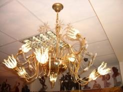 מנורת תלייה זהב 24 קראט בשילוב קריסטל  - דיזיין G.D גלרי דענתיק