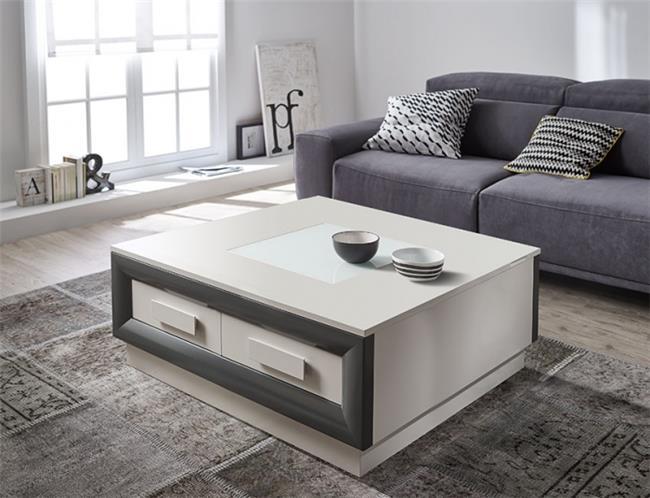 שולחן סלוני מרובע עם 2 מגירות - DUPEN (דופן)