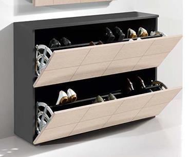 שידת נעליים רחבה בשילוב מראת קוביות - DUPEN (דופן)