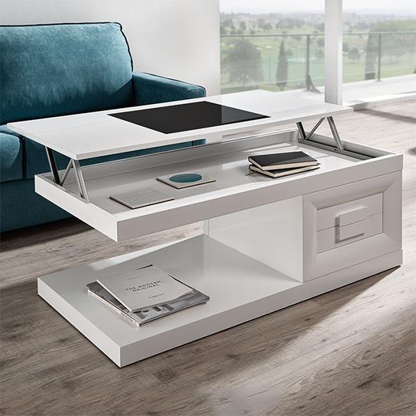 שולחן סלון נפתח עם מדף תחתון - DUPEN (דופן)