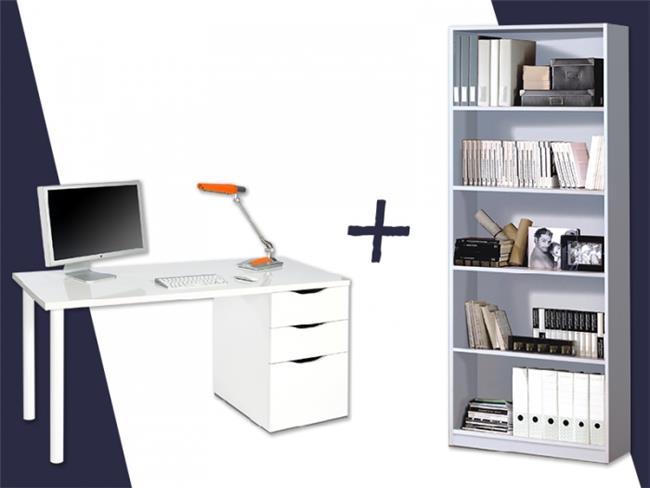 שולחן כתיבה ATHENA + ספריית STYLUS - DUPEN (דופן)