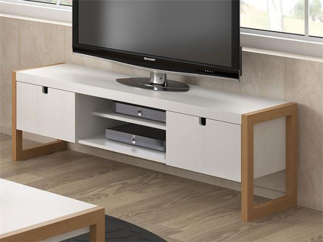 שידת טלויזיה לבנה בשילוב טבעי - DUPEN (דופן)