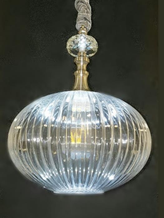 מנורת תלייה קריסטל מלון שקוף - ברק תאורה