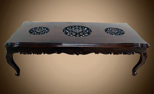 שולחן סלוני מעוטר - Treemium - חלומות בעץ מלא