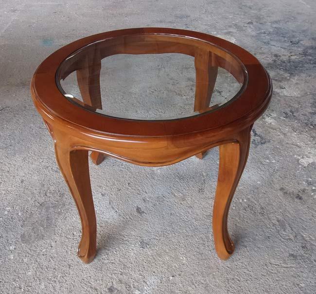 שולחן צד עגול בשילוב זכוכית - Treemium - חלומות בעץ מלא