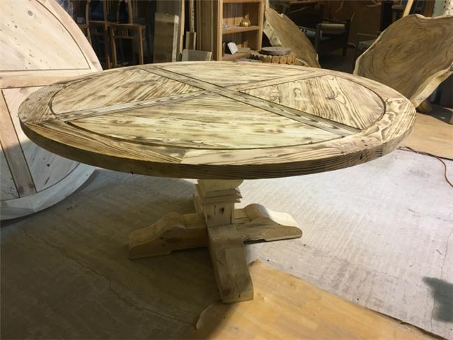 שולחן אוכל עגול כפרי - Treemium - חלומות בעץ מלא
