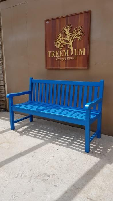 ספסל מעץ מלא בגוון כחול יווני - Treemium - חלומות בעץ מלא