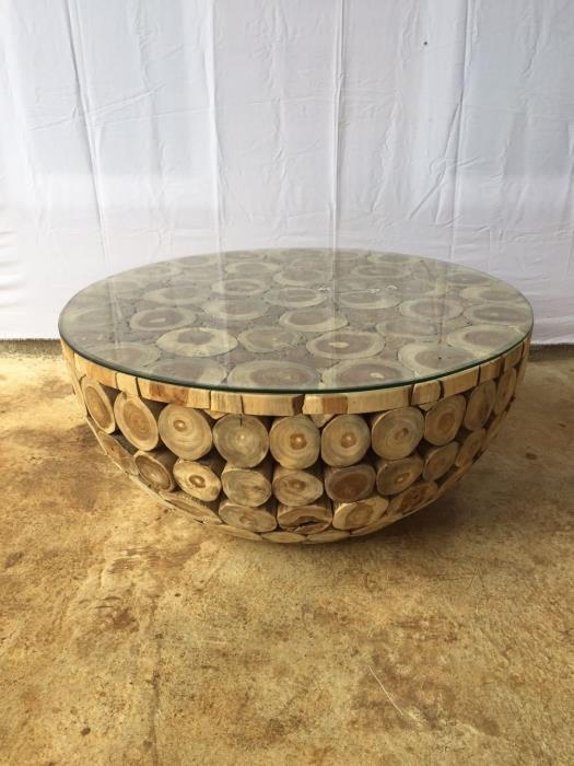 שולחן סלון בולי עץ טיק - Treemium - חלומות בעץ מלא