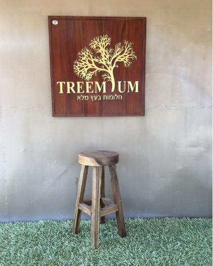 כיסא בר עגול מעץ גזע  - Treemium - חלומות בעץ מלא